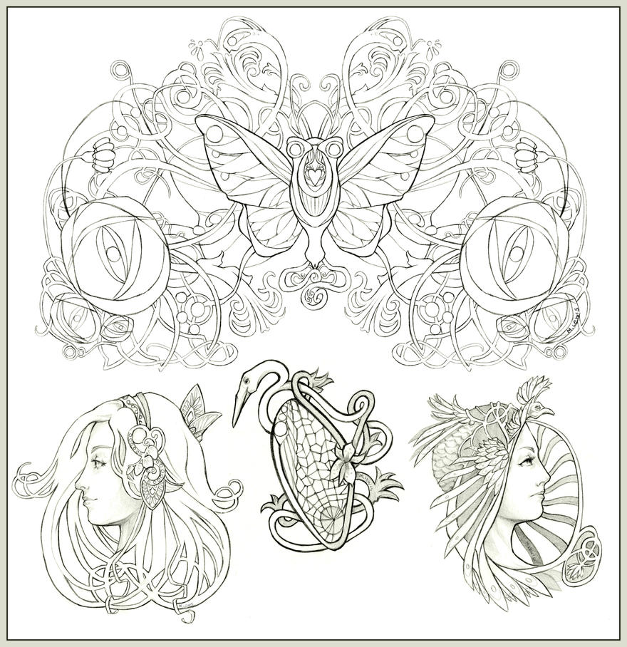 Art Nouveau Tattoo Design By Tegan Ray: Nouveau Tattoos By Ice-brand On DeviantArt