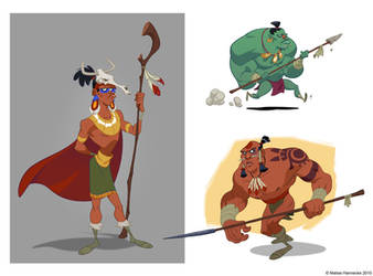 Aztec Characters by mhannecke