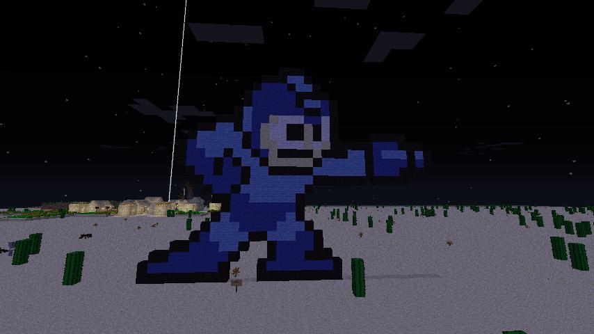 Minecraft art:Megaman sprite by StickMasterDraw