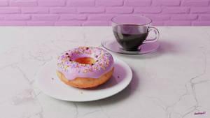 Digital donut with coffee