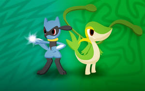 Animated Riolu and Snivy wallpaper