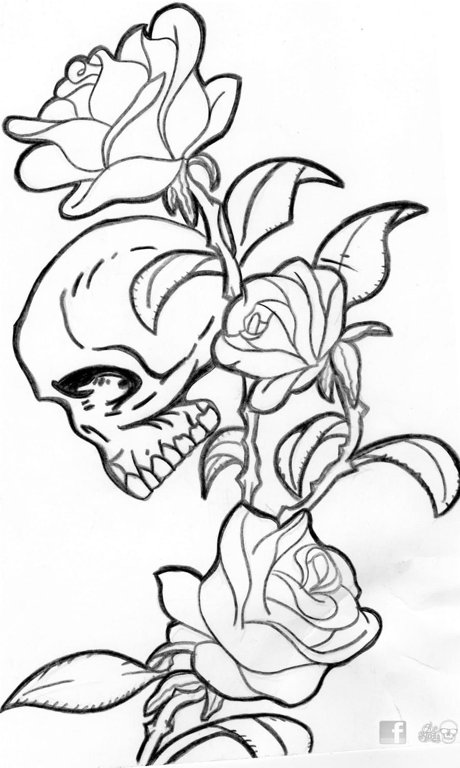 Skull and roses by aestudio90 on deviantart for Skulls and roses coloring pages