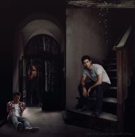 Stiles, Derek and Laura by Estriella