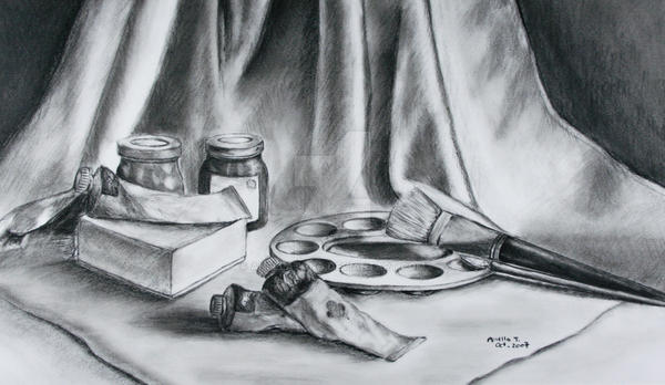 Charcoal Still Life by anellatang