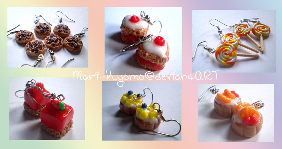 Cute clay earrings by Mari-Kyomo