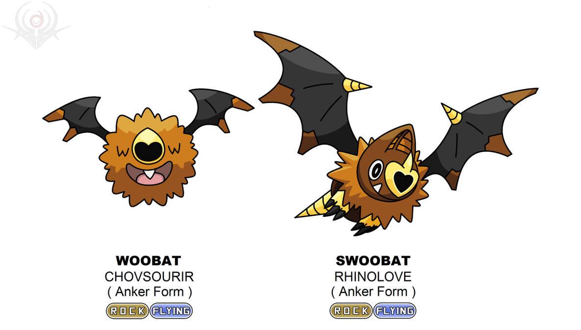 Anker Regional Form - Woobat and Swoobat by scorpenomorph