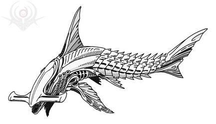 Hammer-Shark Alien by scorpenomorph