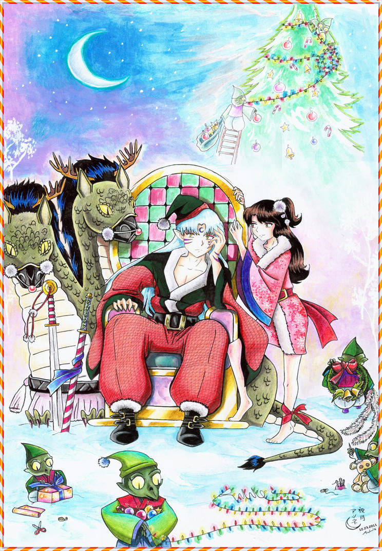 Sesshoumaru Christmas land by Yorutsuky-Anne