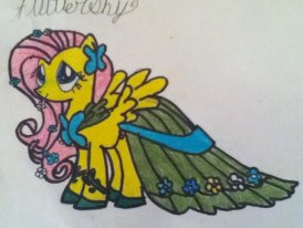 Fluttershy in her gala dress by Blackpuffle96