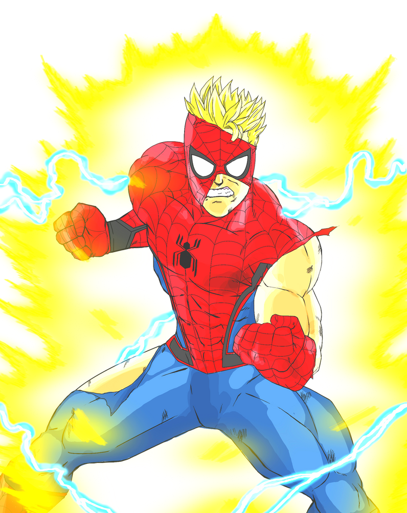 Super Saiyan Spider-Man (Battle Damaged) by KrissytheScot