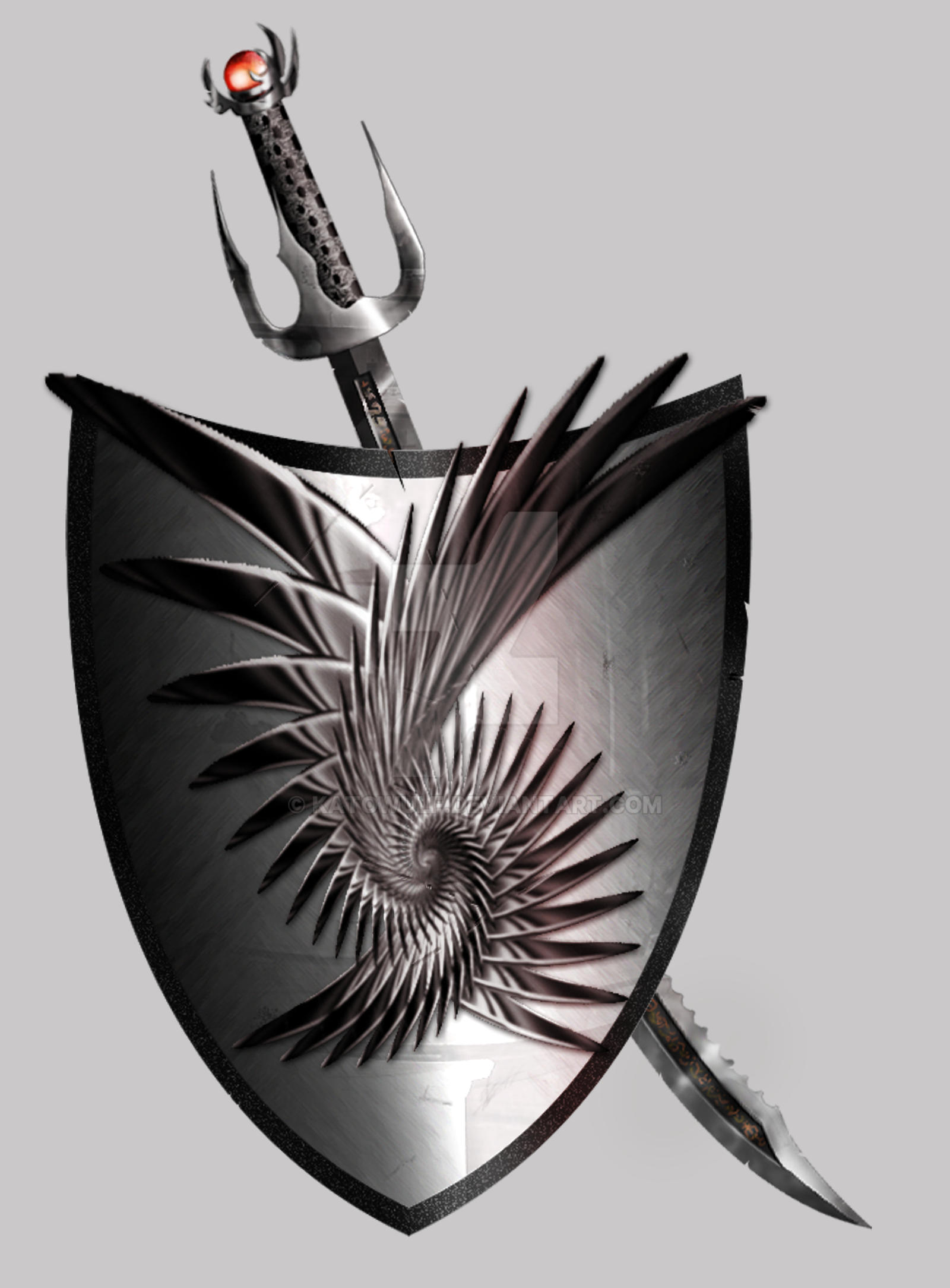 Hunter's Society Spiral_shield_and_sword_by_katowulf-d3cf2e4