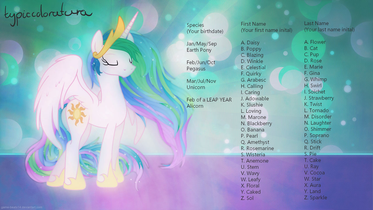 Typiccoloratura name generator image my little pony by typiccoloratura