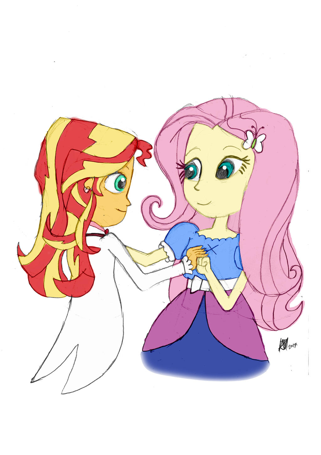 S. Shimmer and Fluttershy at the Silver Bell Ball by JMK-Prime