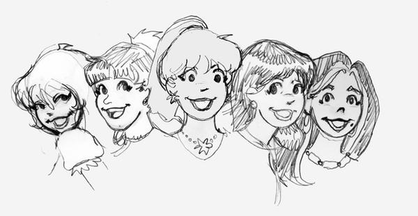 ladies of archie pencil sketch by Suzanimated