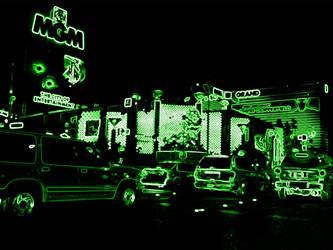 Vegas in Neon MGM Grand Green by ThatDamKat