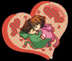[St.Valentine '14] Sleeping Nekos by Tsubaki-Kanon