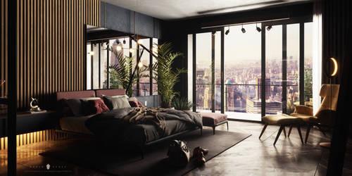 Dark Bedroom - 3D ArchViz Project
