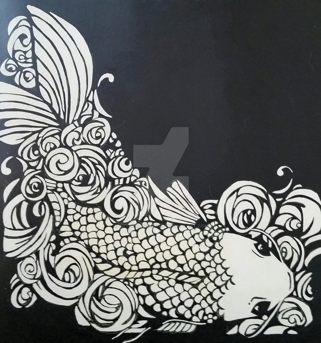 Koi in black and white by artofkellirenee on deviantart for Black white koi