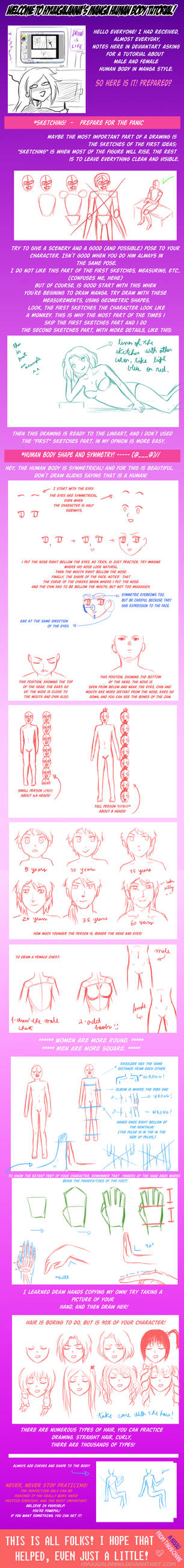 Manga style human body tutorial and examples