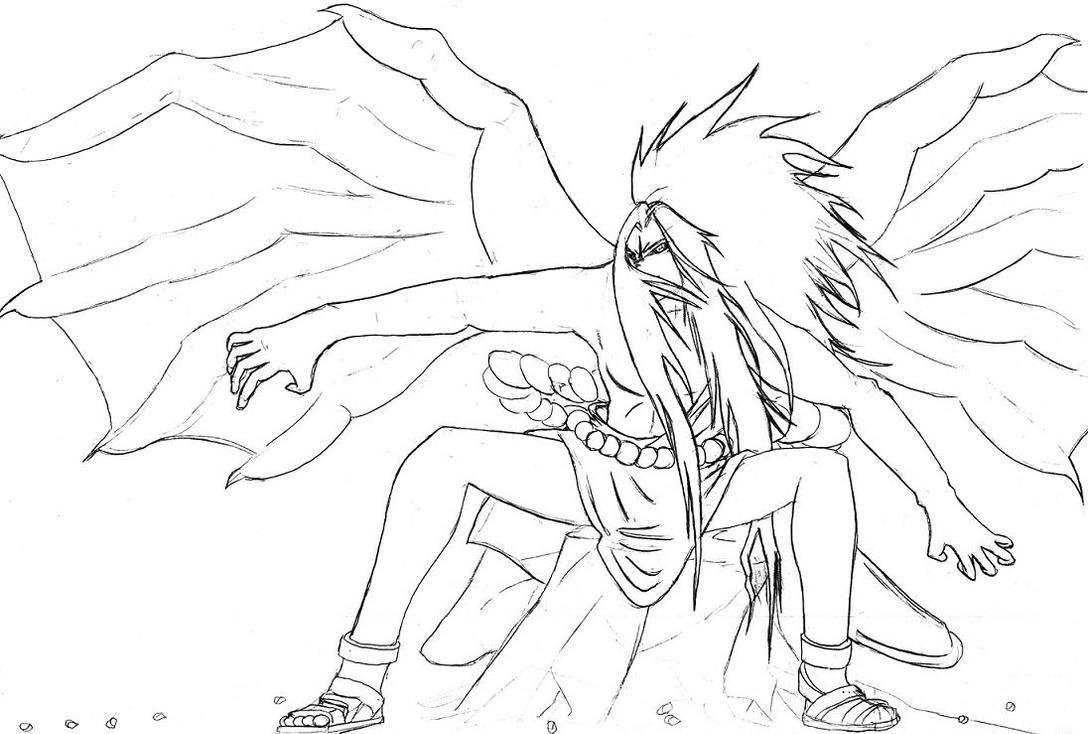 coloring page sasuke curse mark transformation sketch coloring page