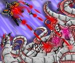 Salamandar vs  Chibi demon thingy by littleRoro