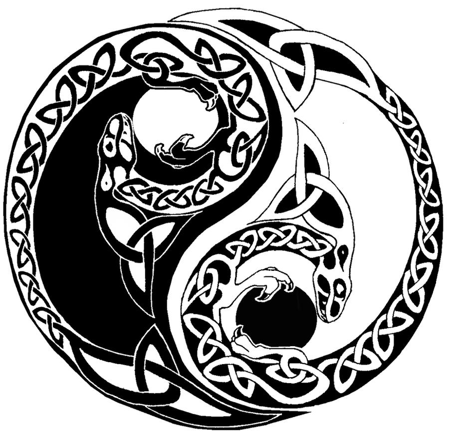 Celtic yin yang dragons by FullmetalDevil