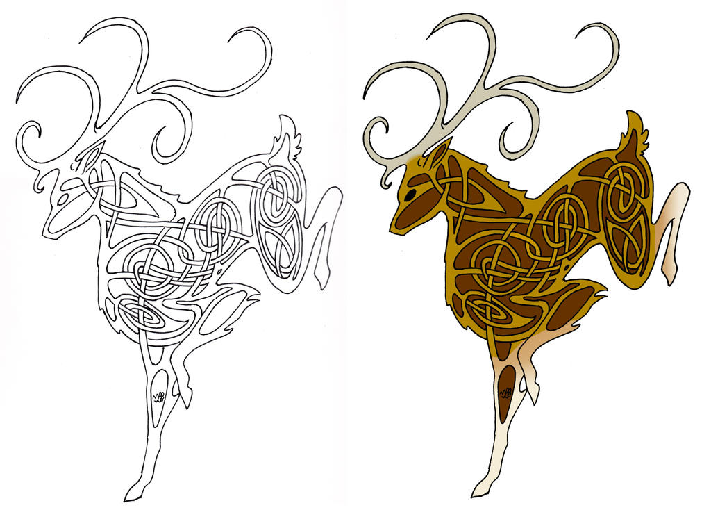 Celtic Deer line and colored