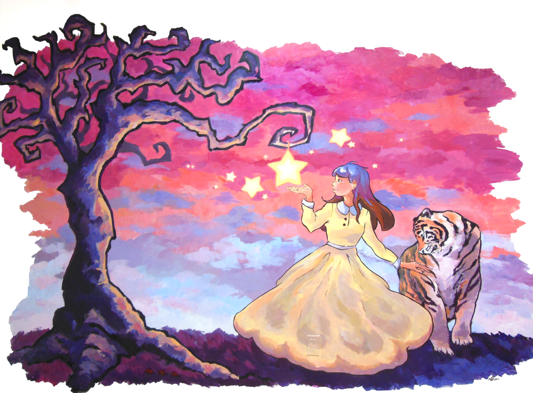 Fairy tale mural by poqu on deviantart for Fairy mural wallpaper