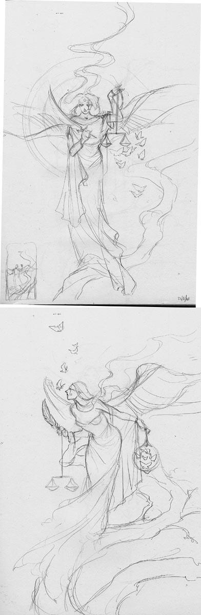 Tarot Justice sketches
