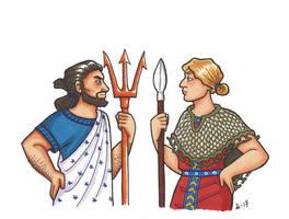 Athena and Poseidon by A-gnosis