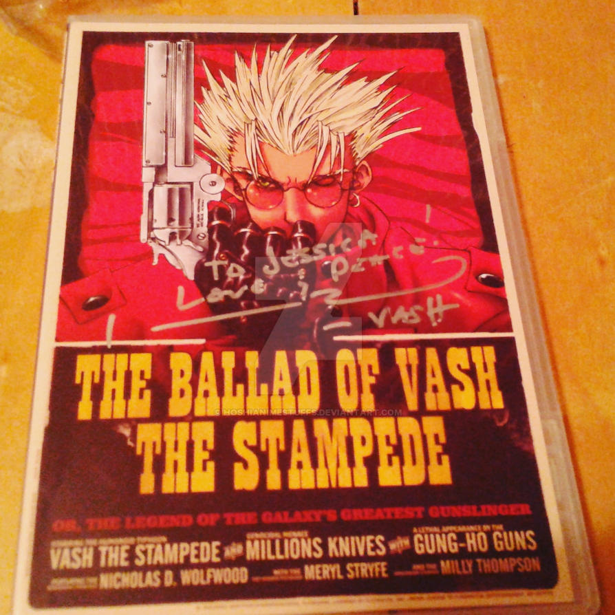 Trigun DVD slip signed by Johnny Yong Bosch by HoshiAnimeStuffs