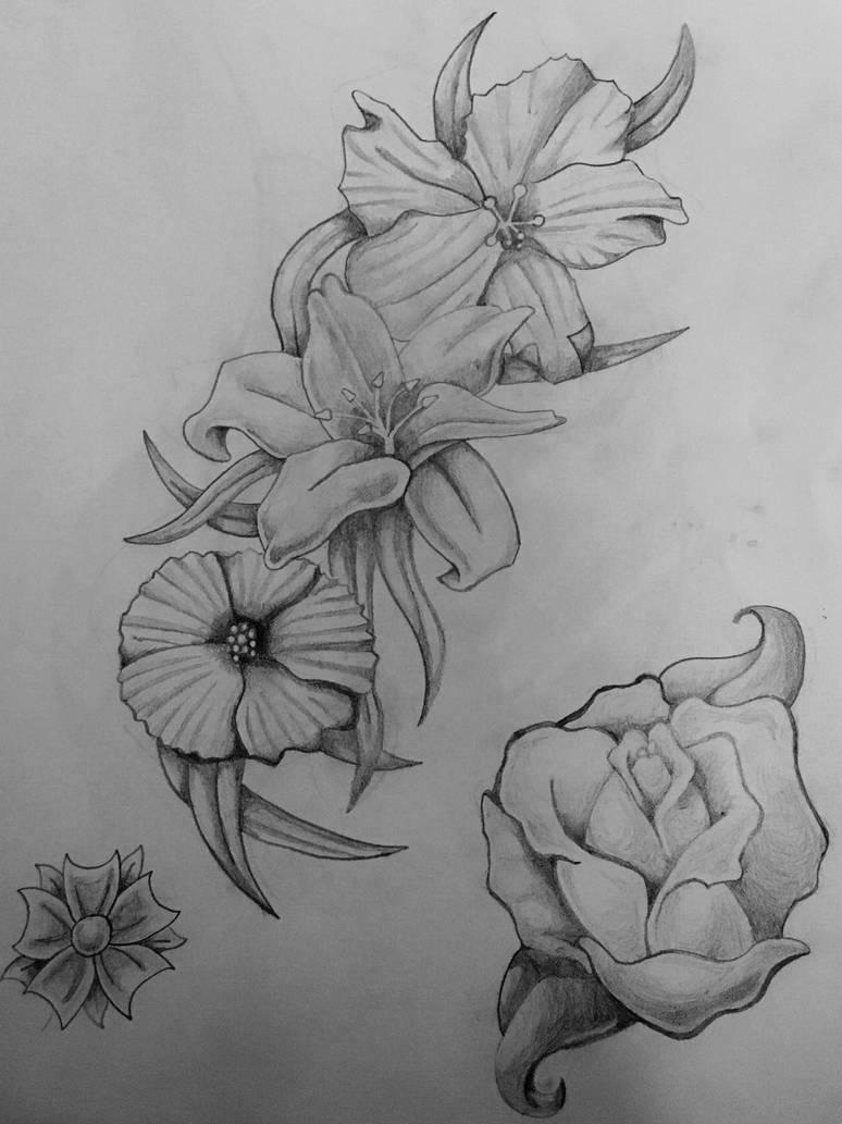Floral Rose Sketch Tattoo Designs By Jhughes2016 On Deviantart