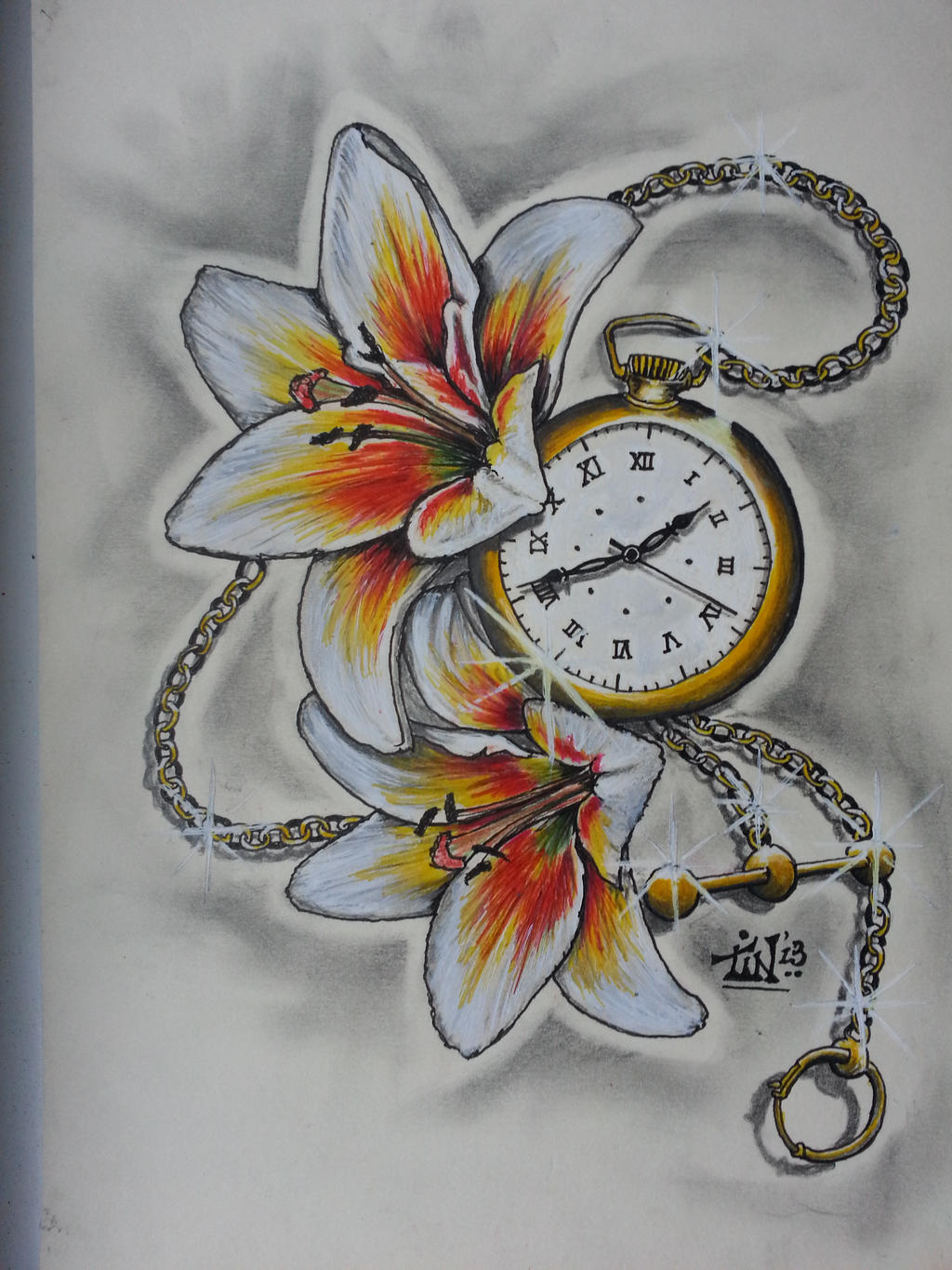 Pocketwatch n Lillies by Tin72 on DeviantArt