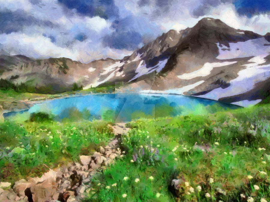 Swiss Alps Lake Painting by VoDooClown