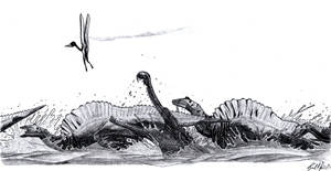 Ouranosaurus crossing a river