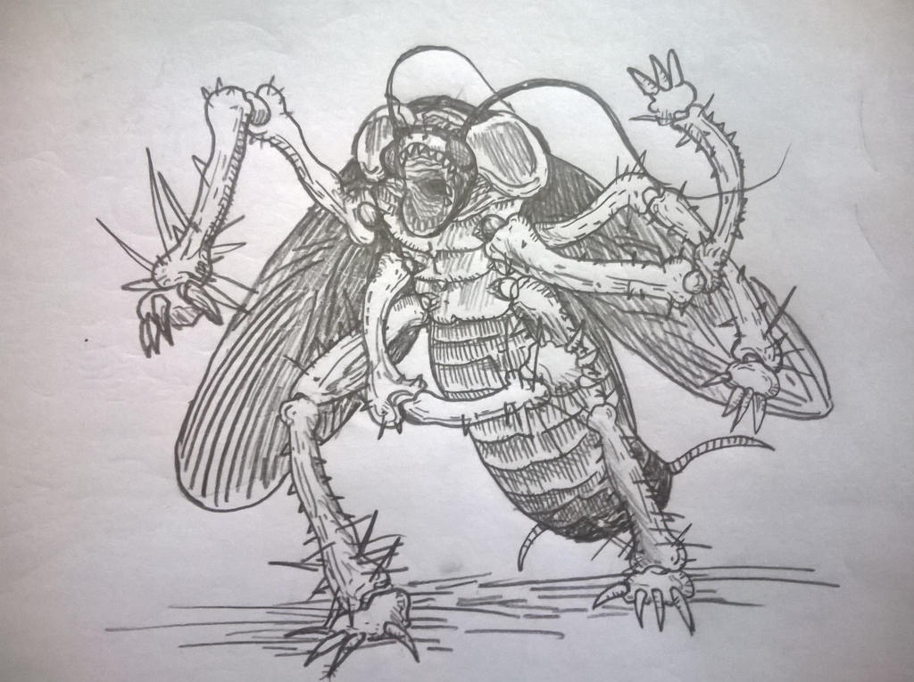 Line Drawing Monster : The giant cockroach monster by tjiaying on deviantart