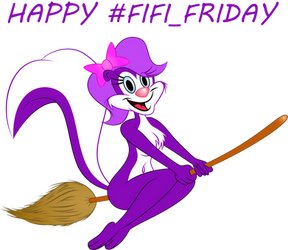 Fifi on broomstick (request) #Fifi_Friday