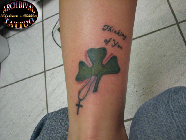 shamrock with cross by theothertattooguy
