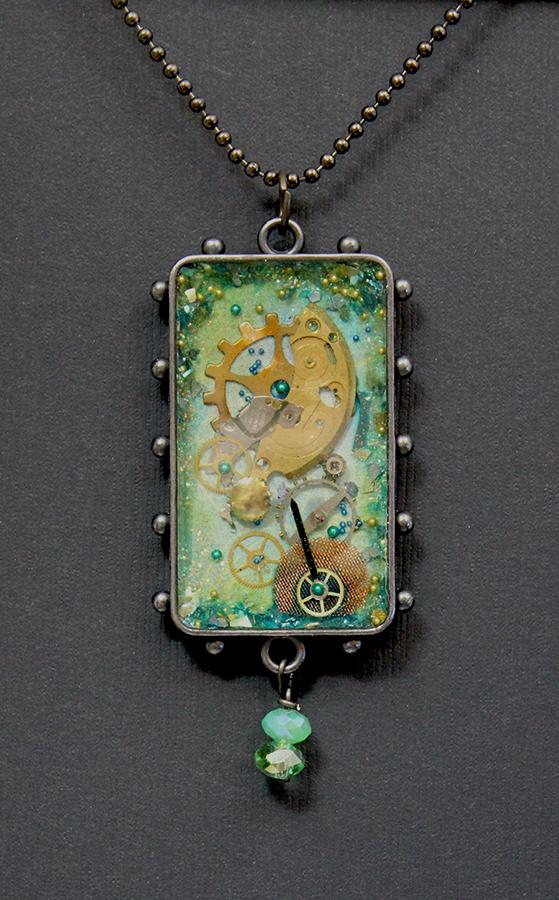 Rectangular green pendant by sillysarasue