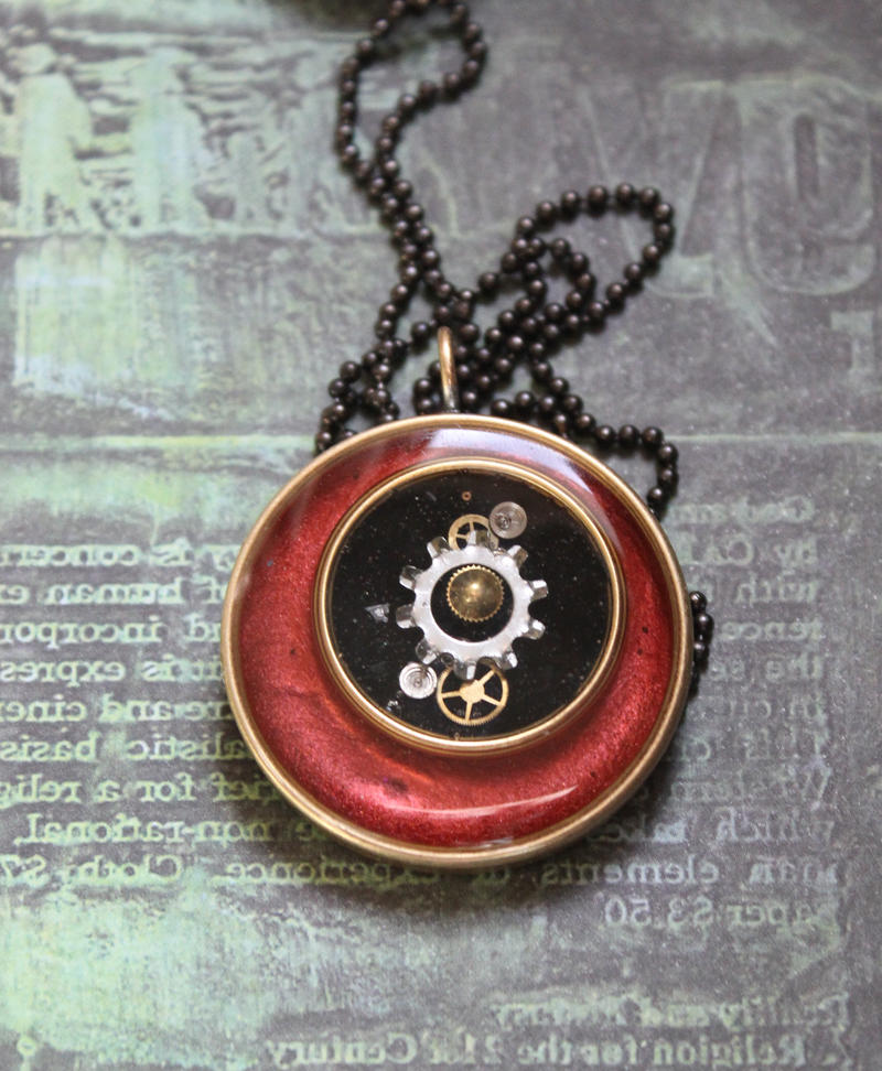 Red and black pendant by sillysarasue