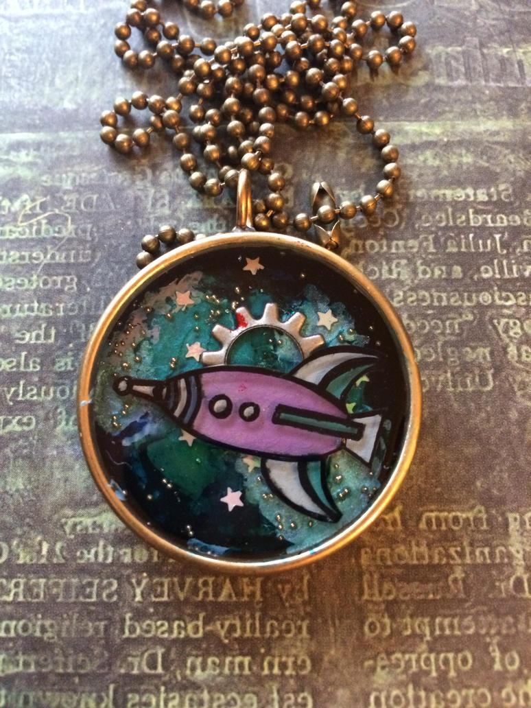 Rocket Ship pendant by sillysarasue