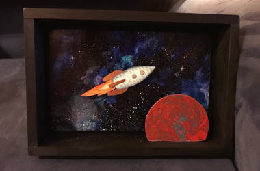Rocketship with planet by sillysarasue