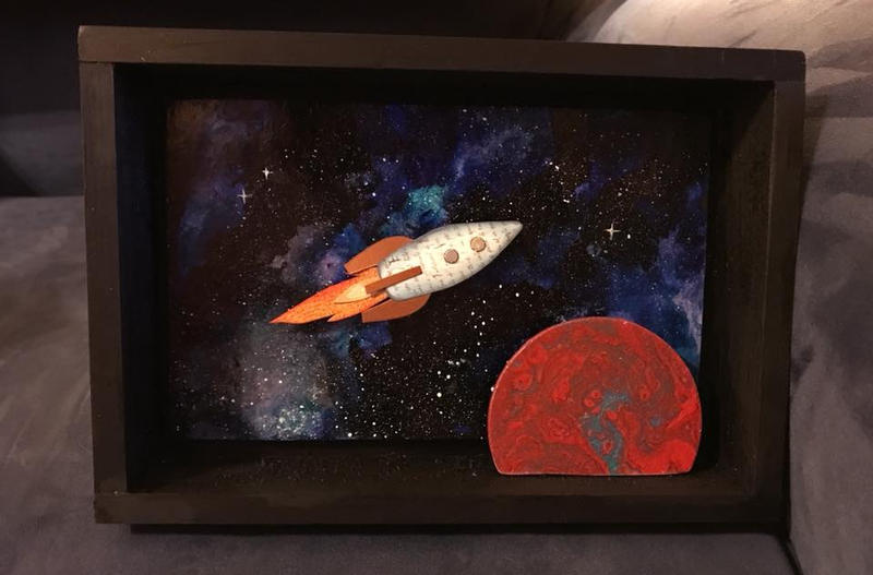 Rocketship with planet