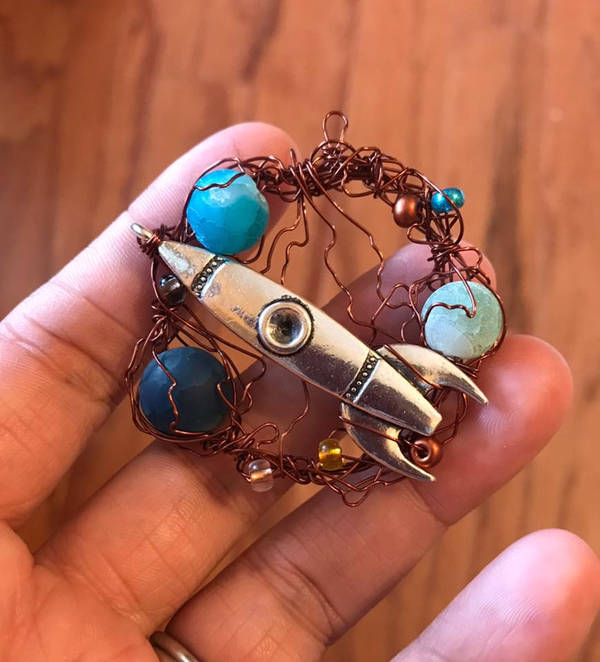 wire rocket pendant by sillysarasue