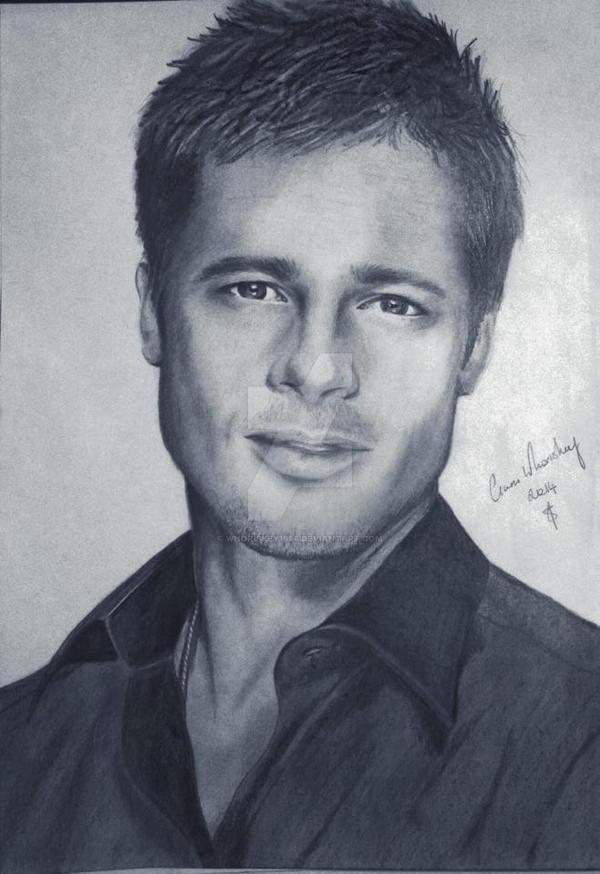 Brad Pitt Pencil Sketch by Whoriskey1986