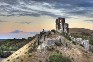 Corfe Castle at sunset HDR