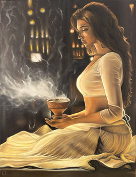 The girl with the smoking chalice
