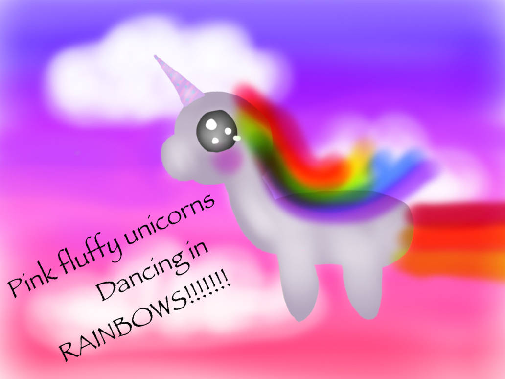PINK FLUFFY UNICORNS DANCING IN RAINBOWS by ShadowPainter230