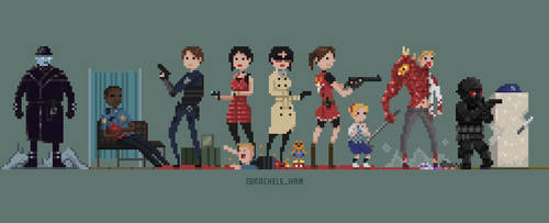Resident Evil 2 Characters in Pixels by RachelCunningham