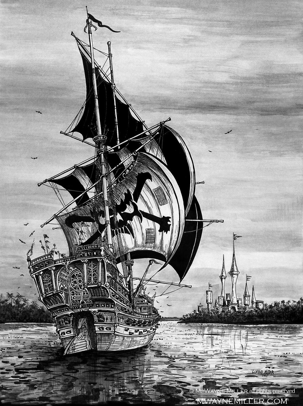 Pirate ship drawing - photo#24